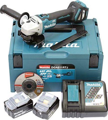 Makita cordless angle DGA511RTJ, 18 Volt(blue / black, MAKPAC size 2, 2x Li-ion battery 5.0 Ah) Slīpmašīna