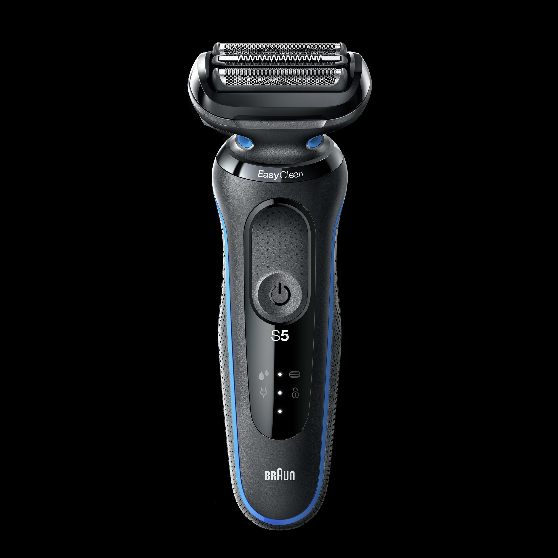 Braun 50-B1000s Cordless, Charging time 1 h, Lithium Ion, Number of shaver blades 3, Black/Blue, Wet & Dry matu, bārdas Trimmeris