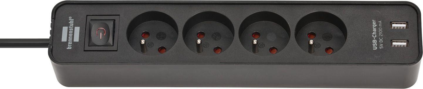 Brennenstuhl Ecolor power strip, standard, 4 sockets 1.5m, 2xUSB black (001918190000) elektrības pagarinātājs