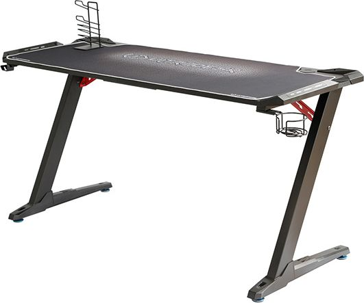 Ultradesk Player desk SPACE XXL WHITE, 154x61x78 cm, RGB backlight with touch panel, with mouse pad around the whole