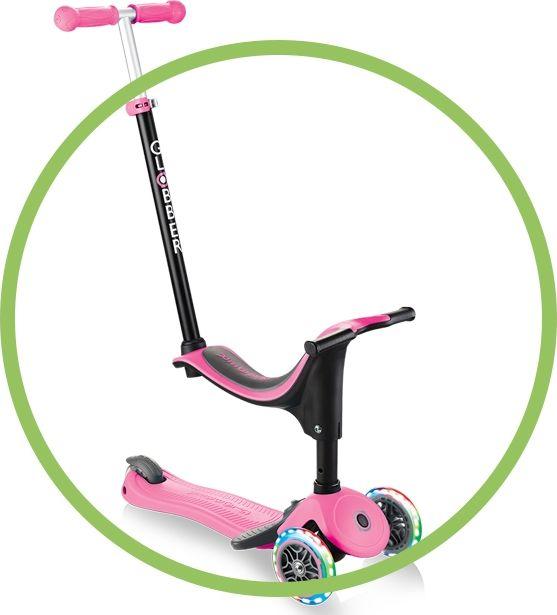 Globber Go Up Sporty plus lights pink - 642-110 Skrejriteņi