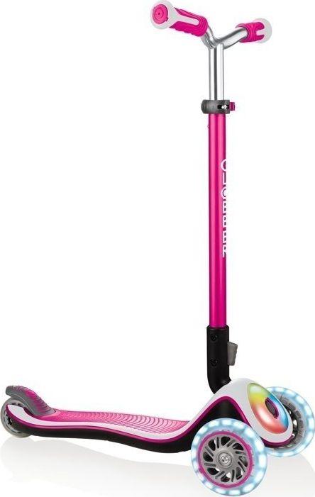 Globber Elite Prime with light roles and flashlight, Scooter(pink / black) bērnu rotaļlieta