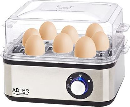 Adler AD 4486 egg cooker 8 egg(s) 800 W Black,Satin steel,Transparent